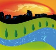 与树河的绿色风景 免版税库存图片