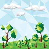 与树的传染媒介低多风景 免版税图库摄影