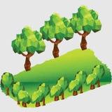 与树的低多山风景 库存照片
