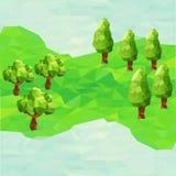 与树的低多山风景 图库摄影