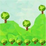 与树的低多山风景 免版税图库摄影