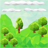 与树的低多山风景 免版税库存图片