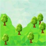 与树的低多山风景 库存图片