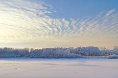 与树的冬天美丽如画的风景和冷光的冷淡的河使模糊在日落 免版税库存照片