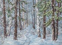 与树的冬天风景在帆布的雪 油原始绘画 库存图片