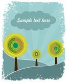 与树的减速火箭的自然背景 免版税库存图片