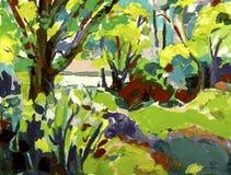 与树的原始的油画风景 免版税图库摄影