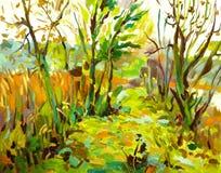 与树的原始的油画风景 免版税库存图片