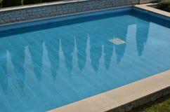 与树的反射的游泳池 库存图片