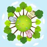 与树的圆的世界 免版税图库摄影
