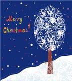 与树的圣诞卡 库存例证
