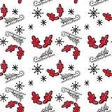 与树的圣诞节无缝的样式在雪撬、红色垫铁和雪花在白色背景 向量例证
