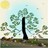 与树的抽象背景-例证 库存照片