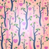 与树的浪漫无缝的样式 库存照片