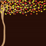 与树的秋天棕色背景 向量例证