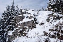 与树的积雪的岩石和与云彩的蓝天 图库摄影