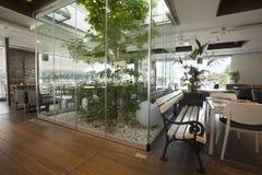 与树的美好的咖啡馆内部 库存照片