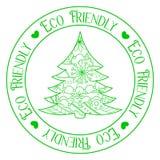 与树的Eco友好的邮票 免版税库存图片