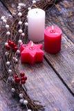 与树装饰的圣诞卡 库存照片