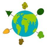 与树象的地球 变褐环境叶子去去的绿色拥抱本质说明说法口号文本结构树的包括的日地球 免版税库存图片