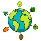 与树象的地球 变褐环境叶子去去的绿色拥抱本质说明说法口号文本结构树的包括的日地球 免版税库存照片