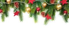 与树,球、星和其他装饰品的圣诞节边界,隔绝在白色 免版税库存照片