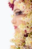 与栗子花框架的妇女美丽的面孔 免版税库存照片