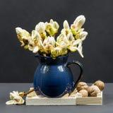 与栗子芽、花和小叶子的静物画构成在一个蓝色陶瓷罐和核桃 免版税图库摄影
