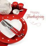 与样品文本的红色题材餐桌餐位餐具 免版税库存图片