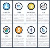 与样品的Cryptocurrency标志发短信给海报 免版税库存图片