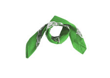 与样式的一块绿色班丹纳花绸,被隔绝 图库摄影