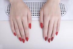 与样式的红色修指甲 在修指甲沙龙的女性手 免版税库存图片