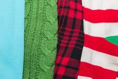 与样式的许多五颜六色的织品布料纹理 免版税库存照片