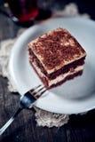 与核桃奶油的巧克力饼 库存图片