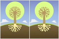 与根的分支的集合两抽象树形图以箭头和冠的形式, 库存照片