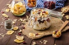 与格兰诺拉麦片、生物干果和坚果的自创酸奶 免版税图库摄影