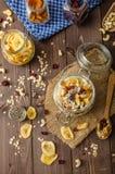 与格兰诺拉麦片、生物干果和坚果的自创酸奶 免版税库存图片