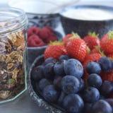 与格兰诺拉麦片、酸奶和果子的早餐 免版税图库摄影