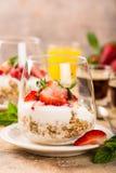 与格兰诺拉麦片和莓果的健康点心 库存图片