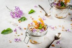 与格兰诺拉麦片,桔子,薄荷和可食的花的酸奶 库存图片
