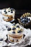 与格兰诺拉麦片muesli和蓝莓的自创酸奶 图库摄影