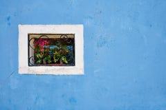 与格子的在蓝色墙壁上的窗口和花 意大利威尼斯 免版税库存照片