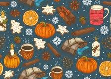 与格子花呢披肩、杯子、南瓜、曲奇饼、香料等等的无缝的圣诞节样式 向量例证