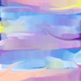与桃红色云彩的抽象水彩天空 免版税库存照片