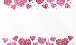 与桃红色五彩纸屑、闪闪发光、闪烁和空间的心脏的海报文本的在白色背景 免版税图库摄影