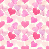 与桃红色五颜六色的心脏-,紫色,蓝色色彩的无缝的水彩样式 向量例证