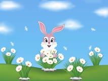 与桃红色兔宝宝和花的春天背景 免版税库存照片