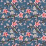 与桃红色兰花花的热带无缝的样式 在蓝色背景隔绝的热带花卉墙纸 异乎寻常的纺织品 库存照片