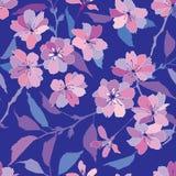与桃红色和淡紫色花的无缝的模式 库存图片