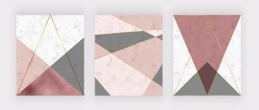 与桃红色和灰色三角,玫瑰色金箔纹理,多角形线的大理石几何设计 婚姻的invi的现代背景 皇族释放例证